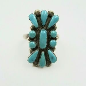 Vintage Sterling Zuni Turquoise Signed Ring